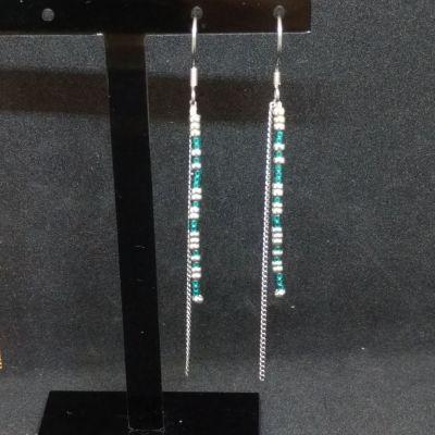 Boucles d'oreille en perles japonaises - Blanc/rose métallique