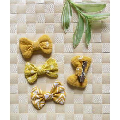 Barrette nœud-papillon jaune - 3