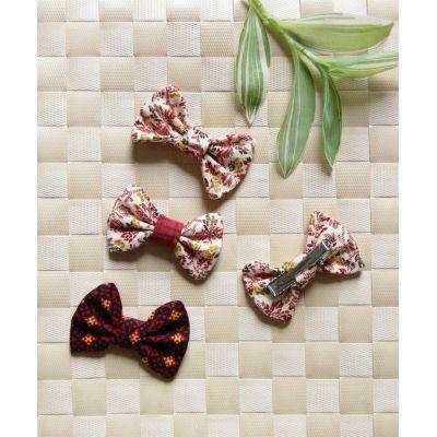 Barrette nœud-papillon coton bordeaux - 1