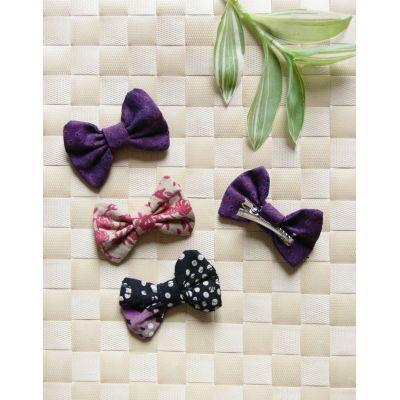 Barrette nœud-papillon violette - 1
