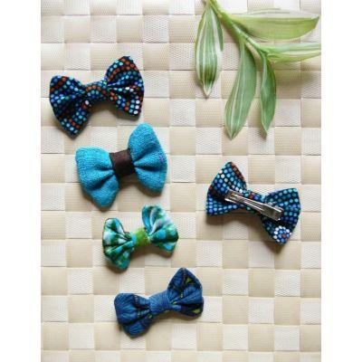 Barrette nœud-papillon bleu/vert - 3