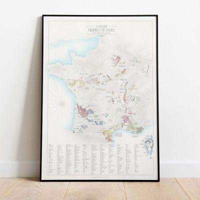 Carte des grands vignobles de France - Papier affiche