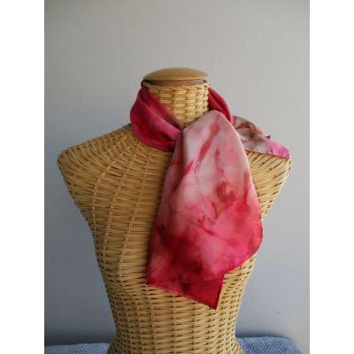 Echarpe en soie rouge et caramel