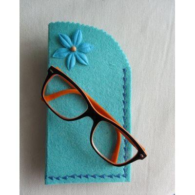 Etui à lunettes en feutre turquoise