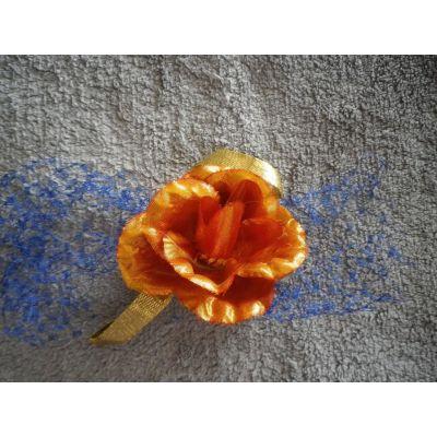 broche/accessoire pour headband, fleur mandarine, voilette bleue