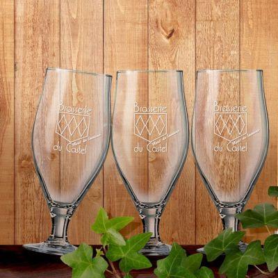 Lot de 12 verres à bière «Brasserie du Castel»