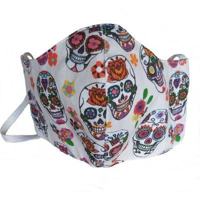 MASQUE tissu  Tête de mort Blanche en coton  lavable et réutilisable avec emplacement pour filtre - Enfants 7/12 ans