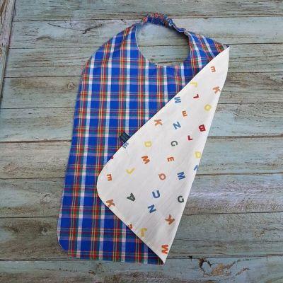 Serviette à élastique en coton écossais bleu pour enfant