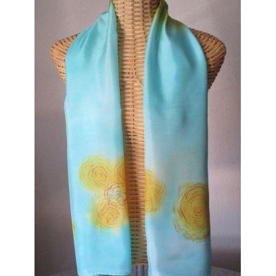 Echarpe en soie bleu, rose et jaune