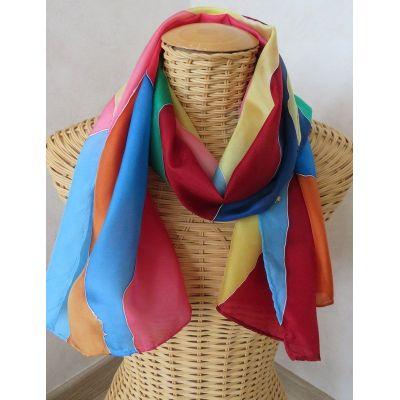 Echarpe en soie multicolore motifs géométriques