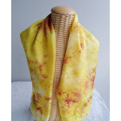 Echarpe en soie moutarde et rouge