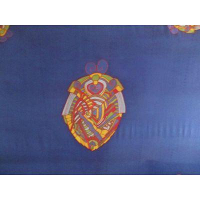 Foulard en soie, motifs art déco, fond bleu