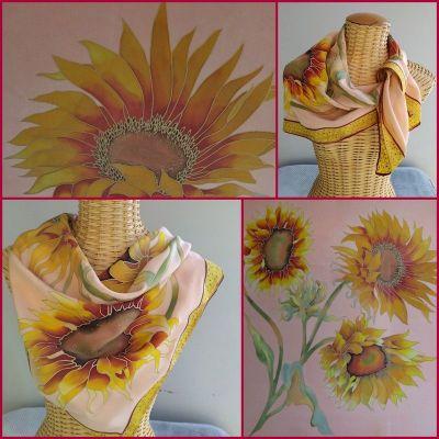 Foulard en soie, motifs tournesols
