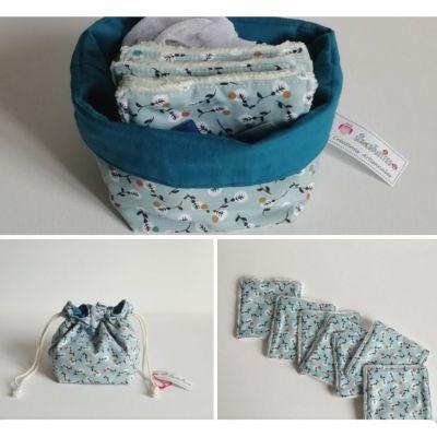 7 Lingettes Fleuri bleu et le Pochon/panier