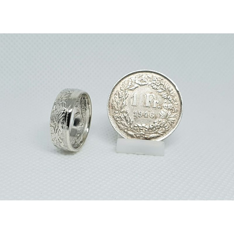 Bague pièce de monnaie 1 franc suisse en argent (coin ring)