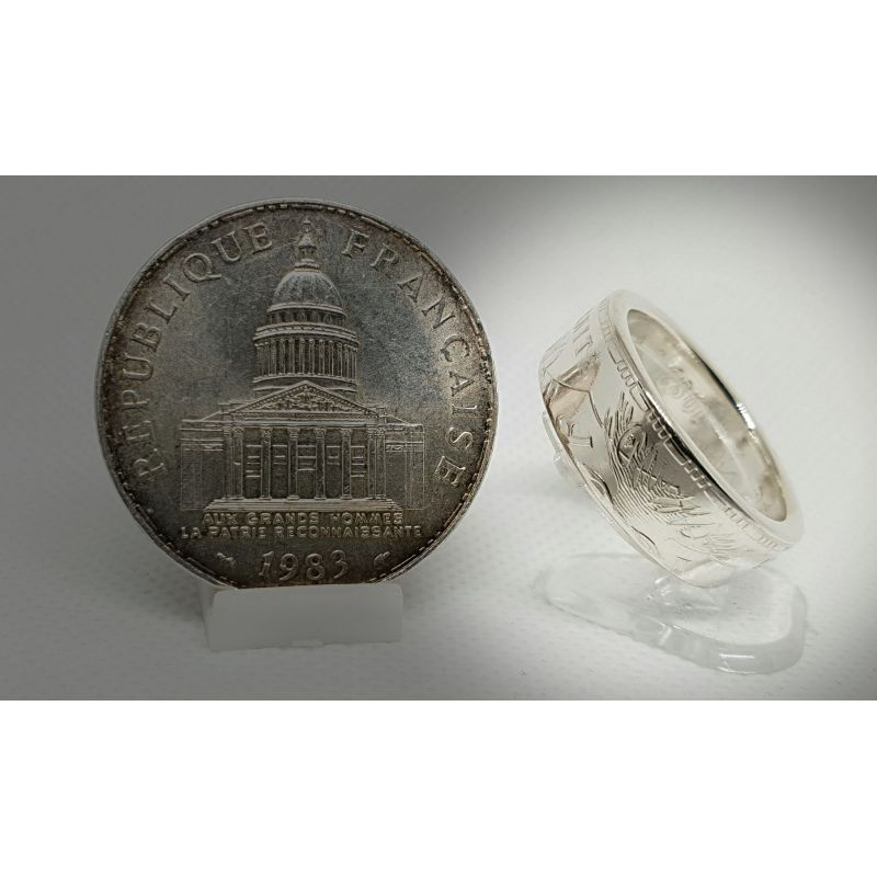 """Bague pièce de monnaie 100 Francs """"Panthéon"""" en argent (coin ring)"""