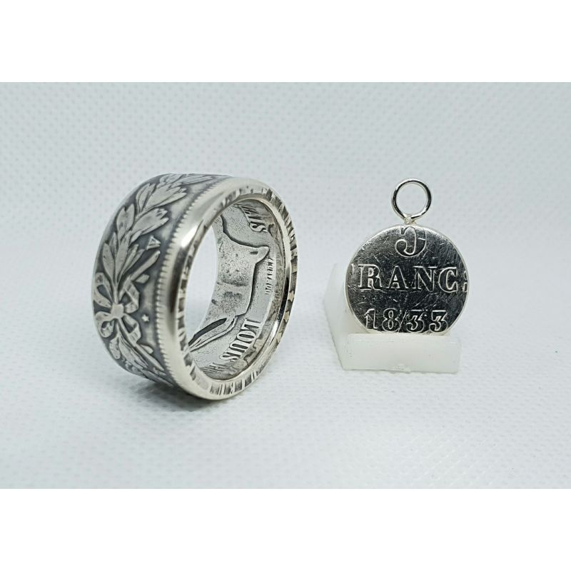 Bague pièce de monnaie 5 Francs Louis Philippe en argent avec son pendentif (coin ring)
