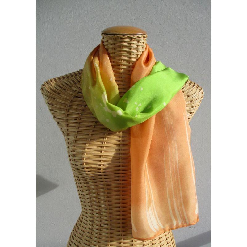 foulard, écharpe, étole en soie, corail et vert anis