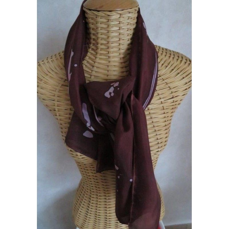 Echarpe en soie, brun et rose