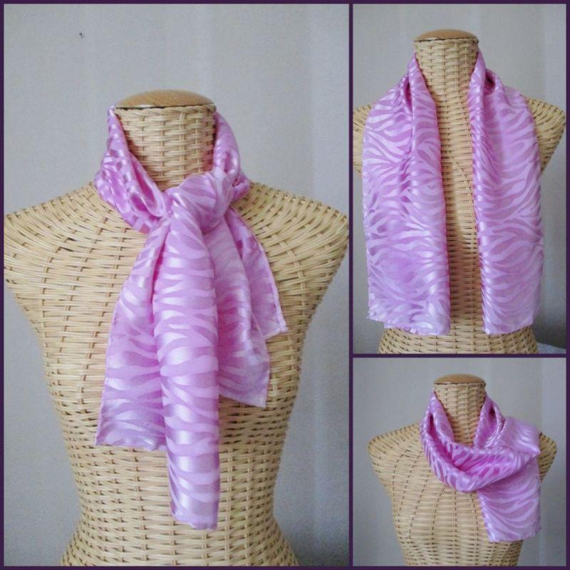 Foulard, écharpe en soie brochée rose magnolia