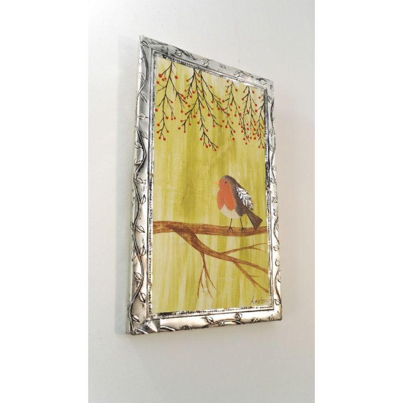 Tableau Peinture sur Bois Oiseau Rouge-gorge orné de métal repoussé - 100% Récup'