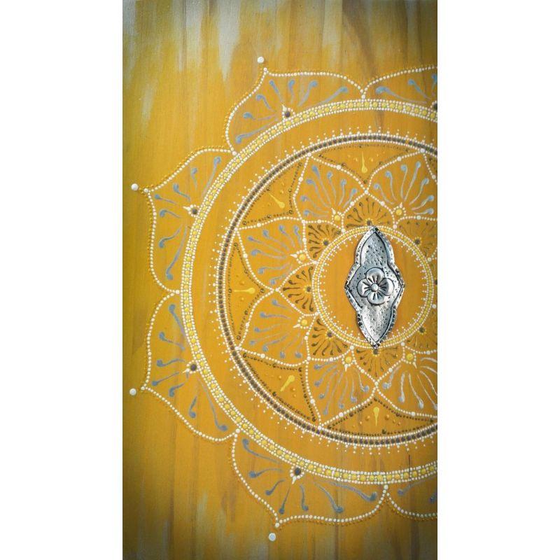 Tableau Mandala zen peint au point (Pointillisme) et Métal repoussé 100% récup'