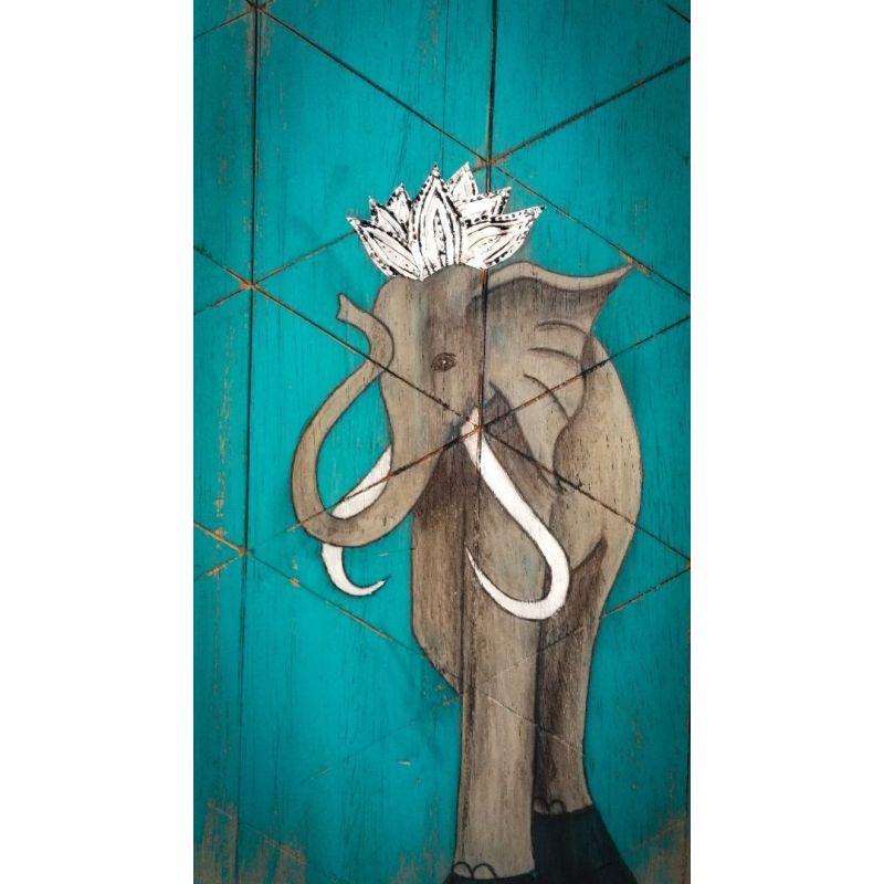 Tableau Peinture sur Bois Éléphant couronne lotus et cadre en métal repoussé - 100% Récup'