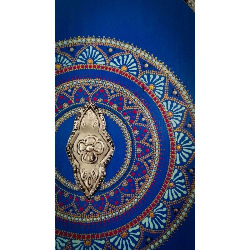 Tableau de style oriental Peinture Poitillisme Mandala et Métal Repoussé