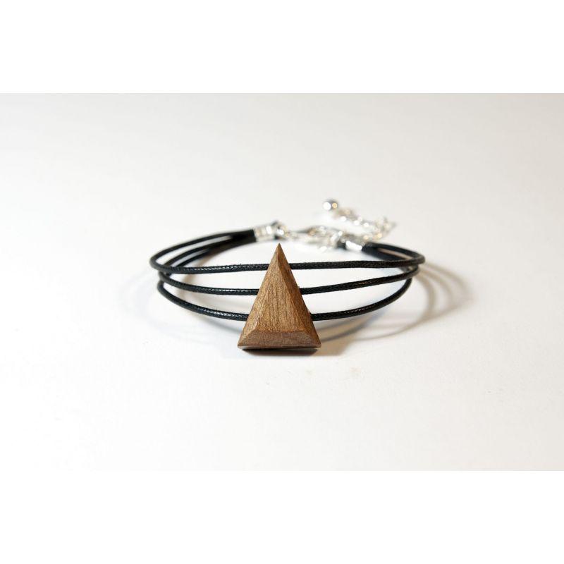Bracelet triangle en bois et argent - Noyer - Collection Trinity - Bijou mixte