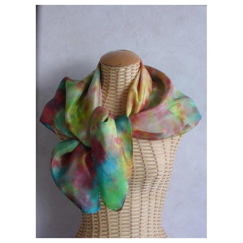 Foulard en soie vert, bleu, rouille