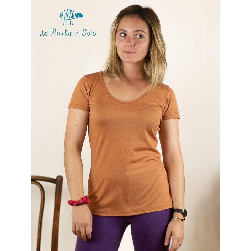 Tee-shirt Classique laine et soie - Vert Lagon - XS