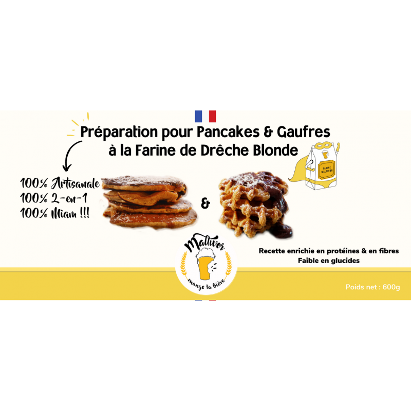 Préparation pour Pancakes et Gaufres à la Farine de Drêche Blonde