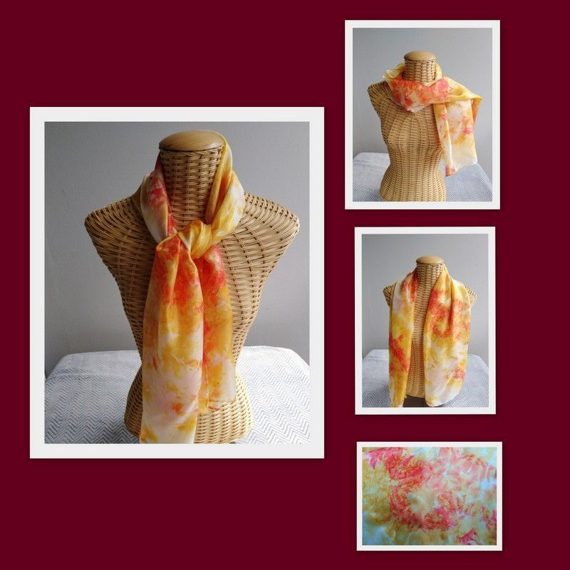 Echarpe en soie rouge et jaune d'or