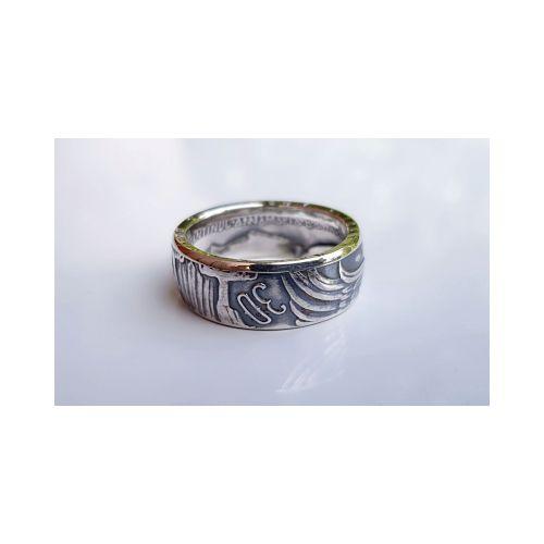 Bague pièce de monnaie 30 Drachmes de Grèce en argent (coin ring)