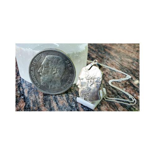 Pendentif en argent pièce de 5 Francs Belge Léopold en argent découpée a la main