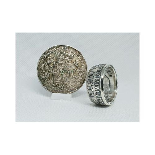 Bague pièce de monnaie 5 Francs Léopold en argent (coin ring)