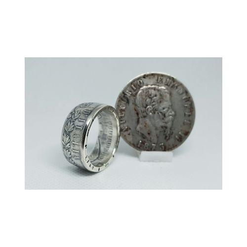 Bague pièce de monnaie 5 Lires Italie en argent (coin ring)