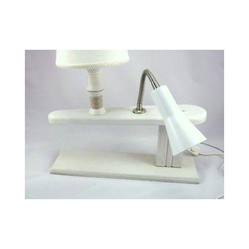 Lampe jeannette ancienne bois blanche double éclairage