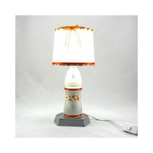 Blanc Abat Lampe Bébé Et Jour Orange Biberon Argenté jq35S4RcAL