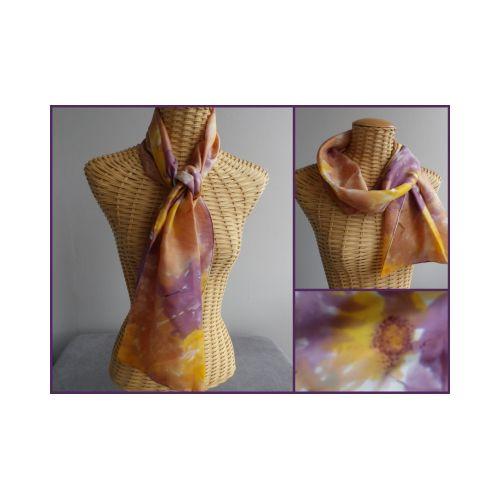 Echarpe en soie prune et vieil or