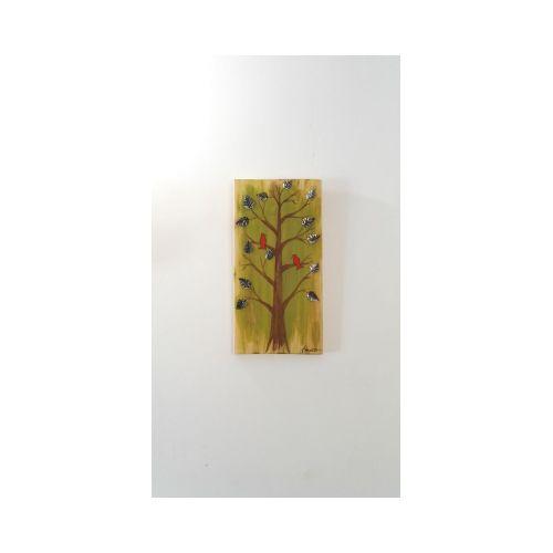 Tableau Peinture sur Bois Arbre et Oiseaux orné de feuilles en métal 100% Récup'