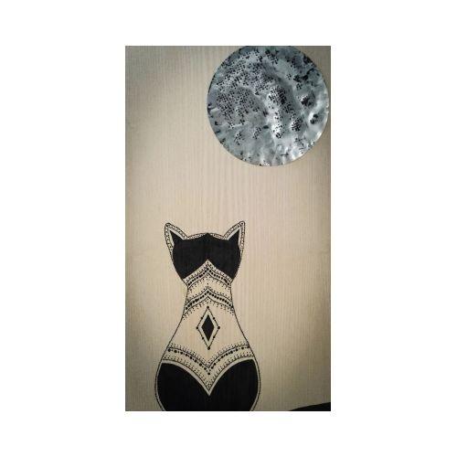 Tableau Chat noir et Lune en métal 100% récup