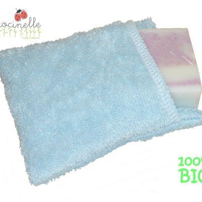 Moussette coton bio de couleur Bleu claire